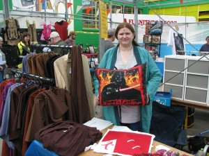 Janet setting up shop at Sci-Fi Fantasy 6 at Gibralter in London.